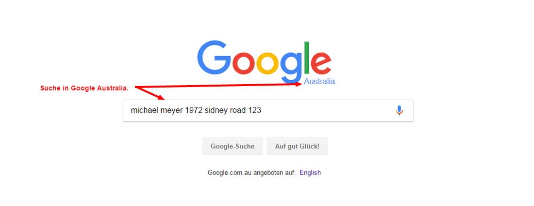 Personensuche in Australien mit Google Australia