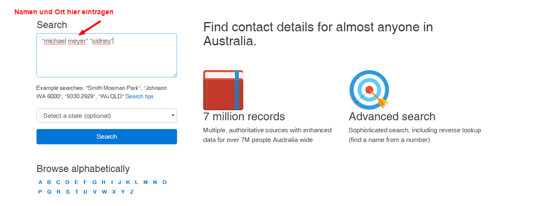 Personensuche in Australien mit Person Lookup